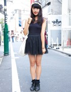 Ballerina Inspired Outfit w/ Flower Crown in Harajuku