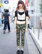 Harajuku Girl w/ Purple Hair, Camouflage, Creepers & Candy Stripper