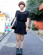 Harajuku Girl w/ Short Hairstyle, Nadia Fashion & Buckle Ankle Boots