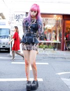 Juria w/ Flame Tights, Pink-Purple Hair & Spiked Platforms in Harajuku