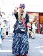 Handmade Wide Leg Pants, SPX Sneakers & Braids in Harajuku