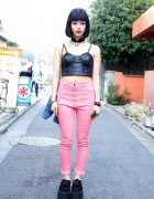 Nadia Leather Bustier, Creepers & Pink Jeans in Harajuku