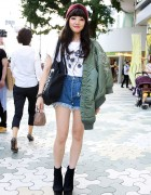 Jouetie Cutoffs, Bomber Jacket & Ankle Boots in Harajuku