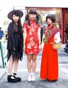 Harajuku Halloween Girls w/ Dripping Lips, Witch Hat, Cheongsam & Wicker Basket