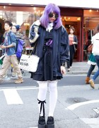 Creepers, Corset, Thigh-Highs, Purple Hair & Horror Makeup in Harajuku