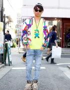 3cro Adventure Yu-suke in Adidas x Jeremy Scott Sneakers & Mario Bros Necklace