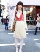 Pink & White Grimoire Dress w/ F.I.N.T Top & Teddy Bear Tote Bag