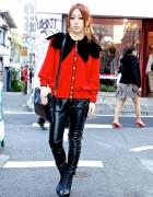 Loco Mack's Key In Leather Pants w/ Chanel earrings & Betty Boop Nail Art