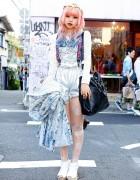 Pink-Blue Dip Dye Hair, Silver Shorts & Jeffrey Campbell in Harajuku