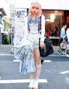 Pink-Blue Dip Dye Hair, Silver Shorts & Jeffrey Campbell in Harajuku