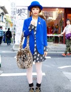 Candy Stripper Cat Dress, Blue Blazer & Furry Cat Bag in Harajuku