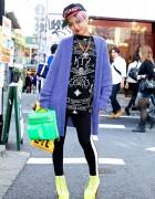 Dancer in Harajuku w/ H&M Cardigan, Porter Bag & Neon Jeffrey Campbells