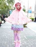 Strawberry Planet Moco in Angelic Pretty Bunny Ears & 6%DOKIDOKI