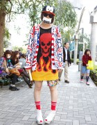 Flaming Skull Sweater, Joyrich Jacket & Mickey Mouse Shorts in Shinjuku