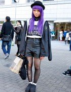 Purple Hair, Leather Shorts, Alien Earring, Avant Garde & Bubbles in Tokyo