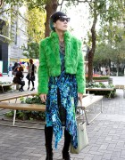 Striking Tokyo Guy w/ Green Faux-Fur, Dog, Prada & Handmade Items