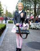 Leather Biker Jacket w/ Milk Skirt & Paul Smith Mini Cooper Bag
