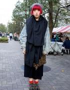 Acid Wash Jacket, Dinosoles, Moussy Skirt & Monomania in Shinjuku