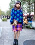 Dark Lilac Hair, Bart Simpson Nail Art, Emoda & Kawi Jamele in Tokyo
