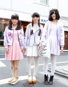 Three Harajuku Girls w/ Matching Pastel E Hyphen World Gallery Dresses