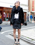 Lilac Hair w/ Faux Fur Coat, Tattoo Tights & Rocking Horse Shoes in Harajuku