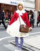 Angelic Pretty Dress, Cardigan, Tights & Cute Bag in Harajuku