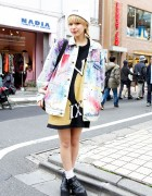 Harajuku Style Icon Una in Acid Wash Jacket & Pin Nap Sweater