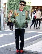 Indie J-Pop Singer in Bomber Jacket, Cheap Monday, MCM & New Balance
