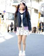Biker Jacket, Twin Tails, Candy Stripper x AMOYAMO & Winged Backpack