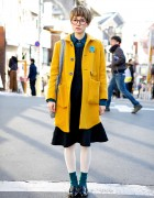 Cute Pixie Cut, Round Glasses & Didizizi Mustard Coat in Harajuku