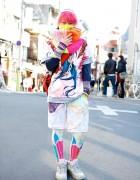 Kinoko Pink in Vivid Colors w/ Manga Print, Veveroparuuu & Leggings