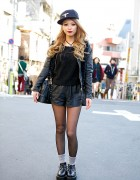 ANAP Leather Jacket, Faux Leather Shorts & Studded Creepers