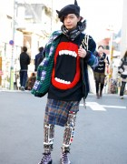 Juvenile Hall Rollcall Plaid, Hiro Lips Sweater & Horns Beret in Harajuku