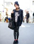 Harajuku Girl w/ Pink Braids, ANAP, Cross Print Tights & Creepers