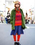 Colorful Harajuku Resale Outfit w/ Knit Cap, Parka, Denim & Red Leggings