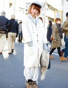 Long Coat w/ Ralph Lauren Bag, Furry Shoes & Furry Hat in Harajuku
