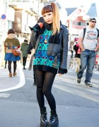 Colorful Sweater, Leather Jacket & Murua Platforms in Harajuku
