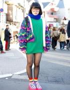 Harajuku Girl in Glasses, Colorful Fashion & Neon Zebra Creepers
