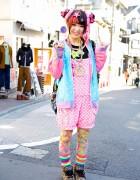 6%DOKIDOKI Romper, Milklim, Leopard Sneakers & Hair Snake in Harajuku