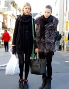 Estonian Fashion Models In Harajuku w/ Winter Coats & Scarves