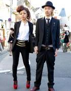 Stylish Harajuku Duo in Black Blazers w/ Paul Smith & Esperanza