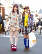 Plaid & Teddy Bear Print w/ Kinji Resale & Pink Hair in Harajuku