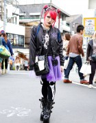 Pink & Blue Braids w/ Bananafish, Galaxxxy, Demonia Boots & Bone Tights