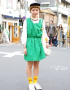 Green Floral Dress w/ Flower Earrings, Jack Purcell Converse & ET in Harajuku