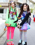 Cute Twin Tails, Unicorn, Neon, Clear Backpack & 6%DOKIDOKI in Harajuku