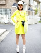 Harajuku Shoe Designer w/ H&M Neon Dress, Nick Needles Clutch & Kenzo Cap