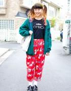 Dalmatian Print Pants w/ Joyrich & Pin Nap Buckle Shoes in Harajuku