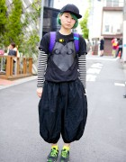 Green Haired Girl in Comme des Garcons Harem Pants, Adidas & New Balance
