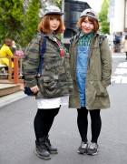 Harajuku Girls w/ Military Jackets, Caps & Backpacks