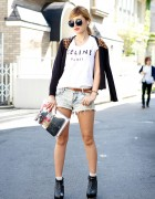 Celine Top w/ Buyma Cardigan, Denim Cutoffs & Clear Clutch in Harajuku